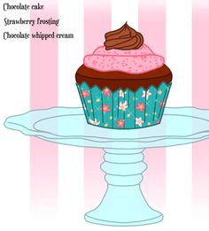 Erika the Pauper's Chocolate Cupcake with strawberry frosting and chocolate whipped cream