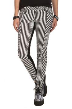 Royal Bones Striped Split Skinny Jeans
