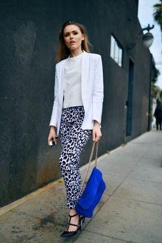 cobalt blue clutch with leopard print pants and blazer