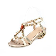 QueenFashion Womens Open Toe Low Heels PU Soft Material Solid Sandals with Glass Diamond, Gold, 38 QueenFashion http://www.amazon.com/dp/B00KZFT6X2/ref=cm_sw_r_pi_dp_8lmYtb08P95AC5CW
