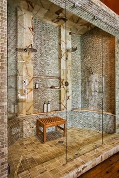 """This was originally titled """"Master bathroom shower! """"Master bathroom/bedroom/living room/racquetball court/recording studio/home office/home theater room!"""" Oh to have money! Dream Bathrooms, Beautiful Bathrooms, Custom Bathrooms, Master Bathroom Shower, Bathroom Ideas, Design Bathroom, Bathroom Inspiration, Bathroom Renovations, Bathroom Spa"""