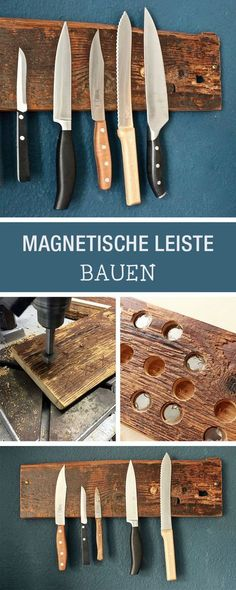 DIY: DIY knife block made of wood, hanging knife block / hanging storage . - DIY: DIY knife block made of wood, hanging knife block / hanging storage idea for knifes, diy furni - Hanging Storage, Diy Storage, Diy Hanging, Storage Ideas, Diy Knife Storage, Storage Design, Farmhouse Furniture, Kitchen Furniture, Rustic Farmhouse