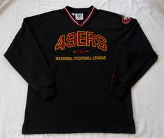San Francisco 49ers Long Sleeve V-Neck Pullover Sweatshirt Vintage NFL Large  in Sports Mem 739fa1905