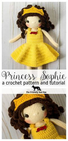 Princess Sophie is 15 inches tall, comes with the pattern for crown, dress, and slippers which are all removable! Perfect for customizing to any favorite princess with this classic design!