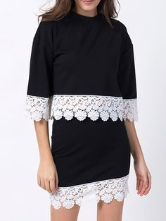 Crew Neck Lacing Tee with Mini Skirt Twinset