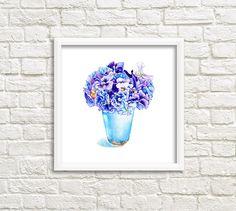 Violet and Blue Pansy in a Vase Watercolor Art от DariyPrintJulia
