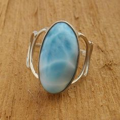 Larimar and Sterling Silver Ring Larimar Jewelry, Pearl Jewelry, Sterling Silver Jewelry, Antique Jewelry, Gold Jewelry, Diamond Rings, Diamond Jewelry, Gemstone Rings, Rock Rings