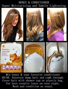 simple way to dye or lighten ur hair without using a chemical hair dye or bleach! healthy and easy!honey and conditioner!   if you use the honey treatment! u gotta be patient for the result. its not gonna show straight away. if on the first go, it doesnt come out as u wanted it, dont be discouraged, apply it multiple times for a greater result!  i used it myself and saw an amazing result, so i strongly recommend it. it also gives ur hair nutrition and smoothes it out and adds shiny-ness!