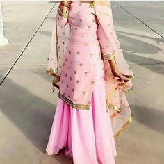Off shoulder sharara Indian Bridal Fashion, Indian Bridal Wear, Indian Wedding Outfits, Pakistani Outfits, Indian Wear, Indian Outfits, Gharara Designs, Indian Designer Suits, Indian Look