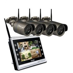 """4CH 11"""" LCD Monitor Screen Wireless IP Camera  Price: 312.31 & FREE Shipping    #techiegeek Cctv Security Systems, Security Surveillance, Surveillance System, Security Camera, Wireless Ip Camera, Video Security, Evil Clowns, Lcd Monitor, Video Camera"""