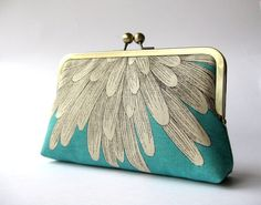 Chrysanthemum  silk lined turquoise floral clutch