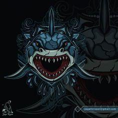 JagatKreasi – Graphic Design Studio Shark Illustration, Game Logo Design, Graphic Design Studios, Snake Print, Vector Icons, Creative Art, Mandala, Wildlife, Creatures