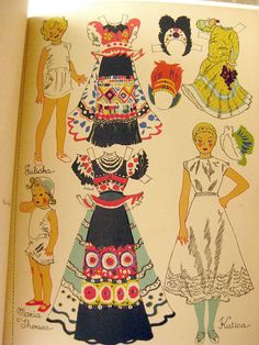 Little Faces From Far Places RARE Paper Doll Book and Story by