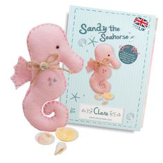Cute Sandy Seahorse Sewing Kit. Complete with shell, beads, and mother of pearl button. Clara Sewing Kits