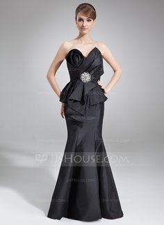 [US$ 146.99] Trumpet/Mermaid Scalloped Neck Court Train Taffeta Mother of the Bride Dress With Cascading Ruffles (008006459)