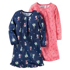 Girls 4-14 Carter's Navy Fairy & Pink Polka-Dot Nightgown Pajama Set
