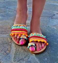 Check out this item in my Etsy shop https://www.etsy.com/listing/518724635/colorful-sandals-candy-shop-pom-pom