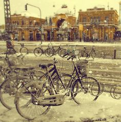 Winter bicycles across from Tivoli Gardens, Copenhagen Denmark - been in this exact spot December 2013 Places Around The World, Oh The Places You'll Go, Places To Travel, Around The Worlds, Tivoli Gardens, Copenhagen Denmark, City Break, Skagen, Scandinavian