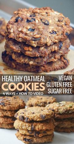 Healthy Gluten Free Vegan Oatmeal Cookies: a recipe made 4 ways with simple clean eating ingredients with the ability to customize it. These healthy gluten free oatmeal cookies are easy and quick to m Vegan Oatmeal Cookies, Vegan Gluten Free Cookies, Healthy Oatmeal Cookies, Gluten Free Oatmeal, Healthy Cookie Recipes, Gluten Free Baking, Dairy Free Recipes, Vegan Recipes Easy, Vegetable Cookie Recipe