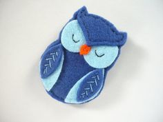 Blue Felt  Owl Brooch by ynelcas on Etsy, $12.00