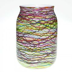 "Mark Wagar multi-color glass vase, 11 1/4"" :"