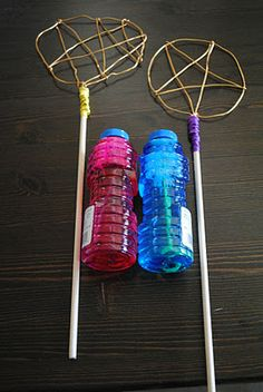 Bubble wands, teethers and hand kites oh my! cool site maybe use metal hangers