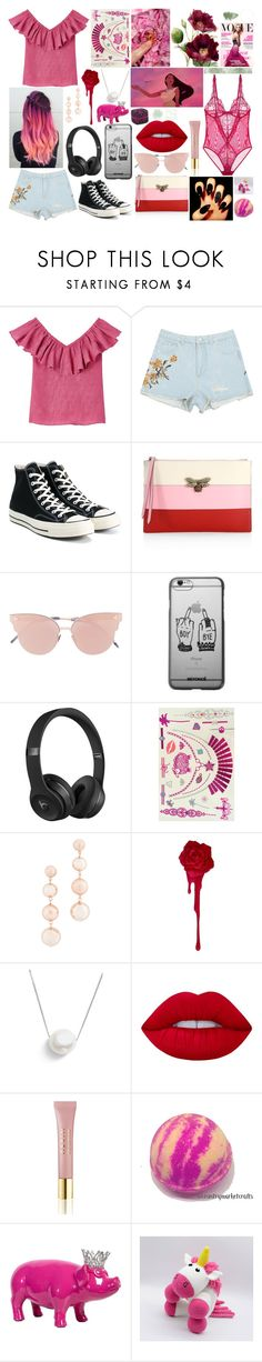 """""""🚹"""" by anette-rivera ❤ liked on Polyvore featuring Converse, Gucci, So.Ya, Beats by Dr. Dre, Rebecca Minkoff, Chan Luu, Lime Crime and AERIN"""