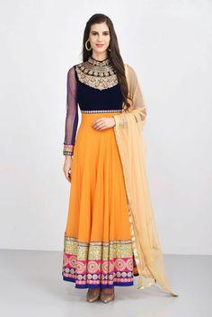 ANUBHAV AND SNEHA - blue and orange bandhgala anarkali