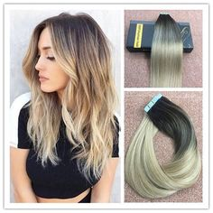 """18"""" Multi-toned Dark Brown to Ash Blonde Skin Weft Tape in Human Hair Extensions #Ugea #Ombr"""