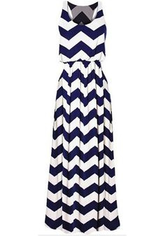 White-Blue Striped Draped Sleeveless Maxi Dress
