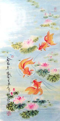 Goldfish Painting | Goldfish,35cm x 70cm(14〃 x 27〃),2367001-z
