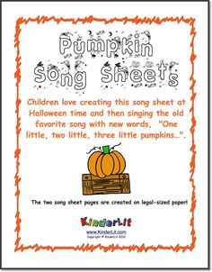 "Integrate math into your October pumpkin work with this cute song sheet activity! More than just counting, it teaches number identification, number order and one-to-one correspondence.   The children will cut apart the sets of pumpkins and the numerals from one sheet and glue them onto the song sheet in correct order. Once they are finished, they can sing ""One little, two little, three little pumpkins...""   ($)"