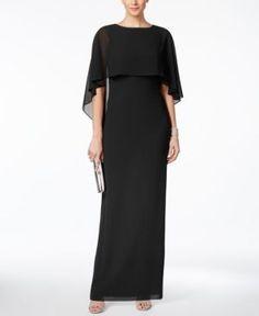 84d7f547e Vince Camuto Chiffon Capelet Gown - Black 14 Vestidos Fiesta