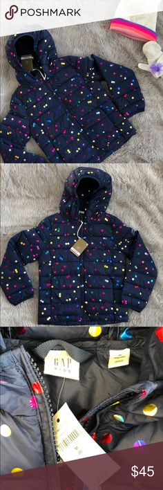 NWT Gap Kids Primaloft puffer jacket. Sz M(8) NWT Gap girls Primaloft puffer jacket -  all the warmth without all of the bulk! Perfect for both winter and spring. Navy with metallic rainbow polka bots. Size M (8). GAP Jackets & Coats Puffers