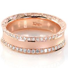 A stunning wedding band, Design 2648 from Knox Jewelers is a beauty in rose gold. This unique design has micro pave, sandblasted texturing, and delicate hand engraved designs. http://www.knoxjewelers.biz/