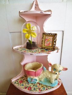 Tickled Pink...Vintage Chippy Pink Corner Shelf by InWithTheOld