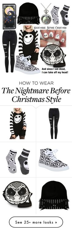 """The Nightmare Before Christmas Inspired Outfit"" by nerdydragonwarrior on Polyvore featuring Topshop, women's clothing, women, female, woman, misses and juniors"