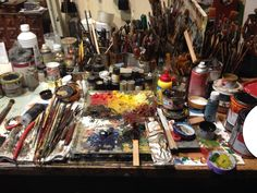 Painter's colorful mess.