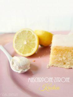 Rezept für Zitrone Mascarpone Kuchen mit Zuckerglasur.
