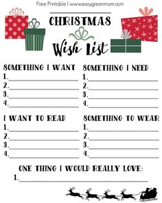 Christmas Wish List Free Printable ~ 4 Gift Rule