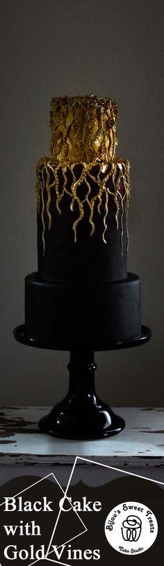 Black Cake with Gold Vines by Bijou's Sweet Treats Cake Studio.   #wedding #weddingcake #goldwedding