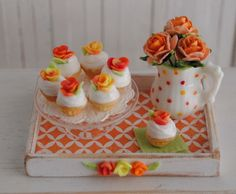 Miniature+Cupcakes+With+Orange+Yellow+And+by+LittleThingsByAnna,+$32.50