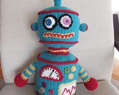 Crocheted Robot - Turquoise
