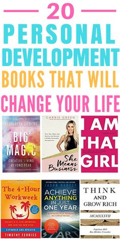 Looking what to read for personal development? Life Changing Personal Development Books for Women - These 20 personal development books have given me the motivation and determination to succeed in business! They're all a must-read in my opinion! Books To Read For Women, Best Books To Read, Good Books, My Books, Best Self Help Books, Books To Read In Your 20s, Free Books, Book Of Life, The Book