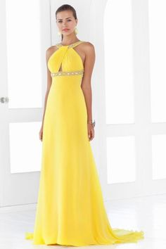 2014 Sexy Backless Pleated Bust Column Prom Dress Chiffon Beaded Straps Yellow