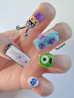Aren't these 'Monsterised' nails just to die for! Now that's what we call fabulous 3D #nailart!