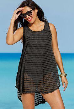 Comfy Travel Outfit Summer - Black Plus Size Arrow Chevron Tunic Plus Size Bikini Bottoms, Women's Plus Size Swimwear, Look Fashion, Fashion Outfits, Fashion Trends, Comfy Travel Outfit, Moda Plus Size, Swimsuit Cover Ups, Swim Cover