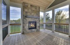 An outdoor fireplace on the deck! Perfect for evening entertaining or just curling up with a good book. I need this in my life.