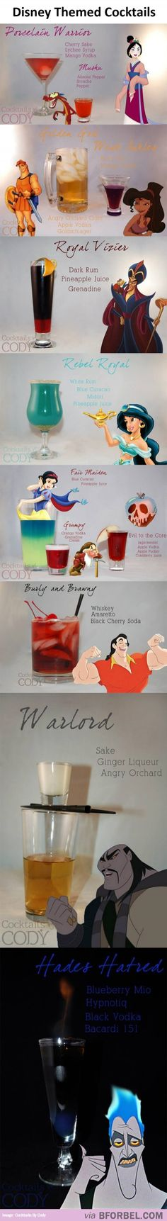 More Disney cocktails! Party Drinks, Cocktail Drinks, Fun Drinks, Yummy Drinks, Cocktail Recipes, Disney Cocktails, Festa Party, Partys, Disney Food