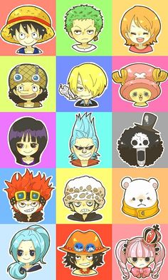One Piece monkey d. luffy, roronoa zoro, nami, usopp, sanji, chopper, nico robin, franky, brook, eustass kid, trafalgar law, bepo, vivi, portgas d. ace, perona #colors